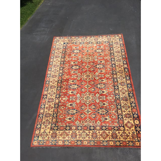 "Afghan Kazak Knotted Wool Rug -- 7'6"" x 11'3"" For Sale - Image 3 of 10"