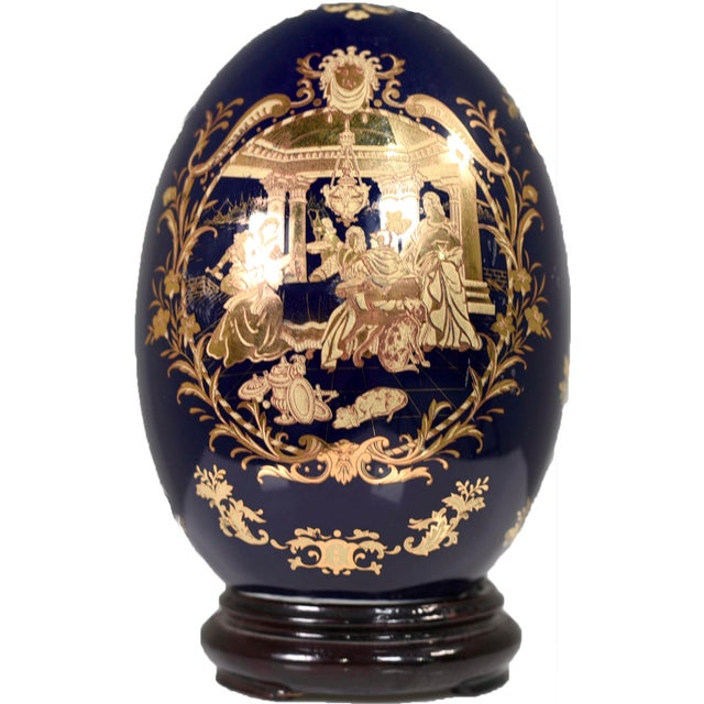 Cobalt Blue and Gold Decorative Egg With Classical Greek Scene Rosewood Base For Sale - Image 13 of 13