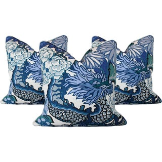 Schumacher Chiang Mai Dragon China Blue Euro Sham Pillows – Set of 3