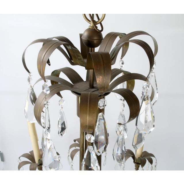 Brass Palm Leaf Chandelier - Image 4 of 10