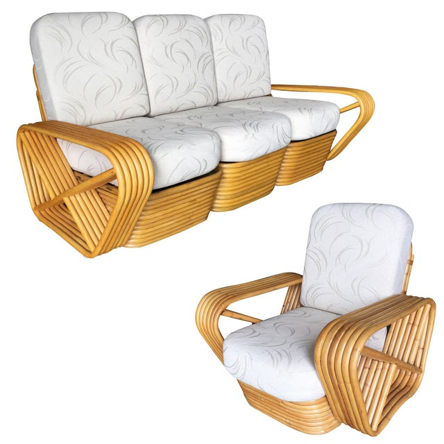 Restored Six-Strand Rattan Sofa and Lounge Chair Set - 2 Pc. For Sale - Image 11 of 11