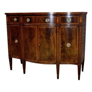 Vintage Hathaway's Inlaid Mahogany & Satinwood Hepplewhite Style Accent Cabinet For Sale