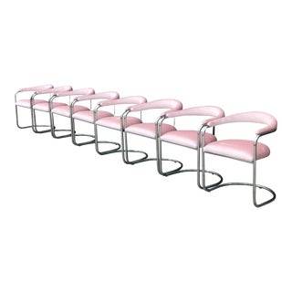 Set of 8 Chrome Chairs in Blush