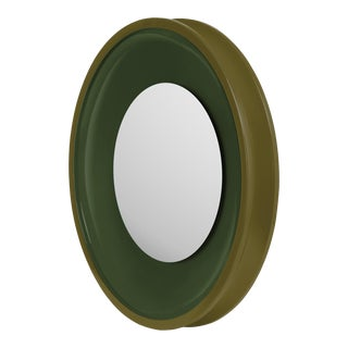 Round Floating Mirror in Light Olive / Dark Olive - Jeffrey Bilhuber for The Lacquer Company For Sale