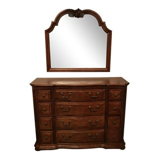 Traditional Solid Dark Wood Dresser and Mirror For Sale