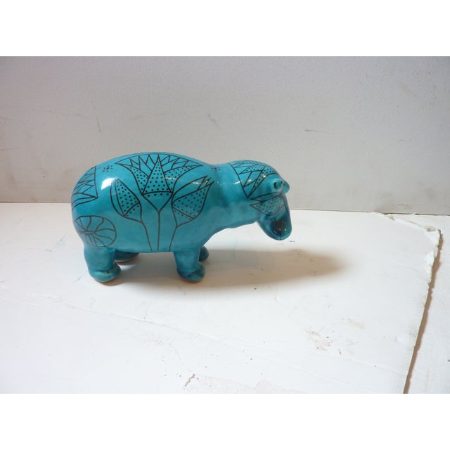 Late 20th Century Vintage Faience Hippo Figurine For Sale - Image 5 of 6