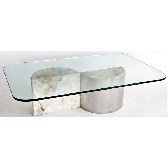 Aluminum Aluminum and Onyx Coffee Table For Sale - Image 7 of 7