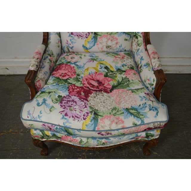 Textile Meyer Gunther Martini Custom Floral Upholstered French Louis XV Style Bergere Wing Chair For Sale - Image 7 of 11