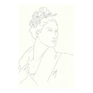 "Figurative Sarah Myers ""Woman With Flowers in Her Hair"" Fashion-Inspired Drawing For Sale"