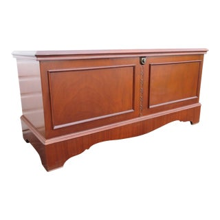 Chinese Chippendale Cedar Trunk Bench by Cavalier For Sale