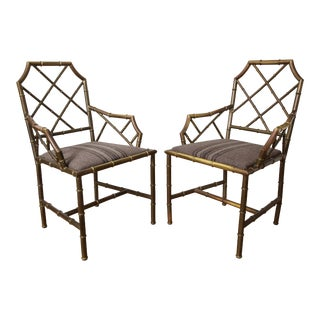 Chippendale Style Brass Bamboo Armchairs- A Pair For Sale