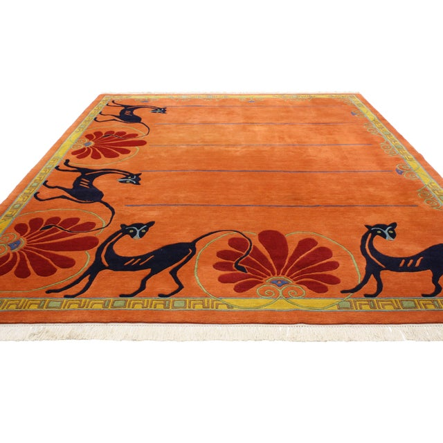 Contemporary Vintage Tibetan Orange with Black Cats Rug - 8′3″ × 10′2″ For Sale - Image 3 of 7