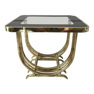 1980s Art Deco Gold Glass Top Accent/Side Table