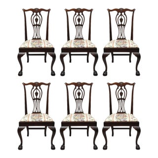 Early 20th Century Antique Mahogany Chippendale Style Dining Chairs - Set of 6 For Sale
