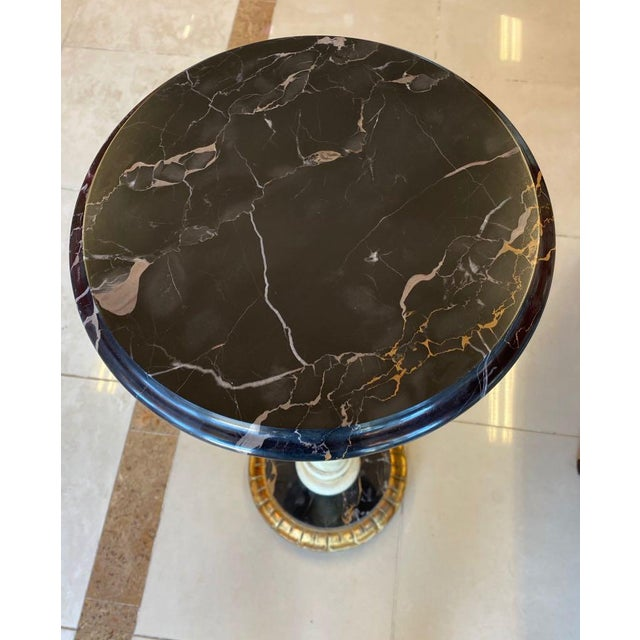 Florentia Twist Pedestal With Black Marble For Sale In Tampa - Image 6 of 8