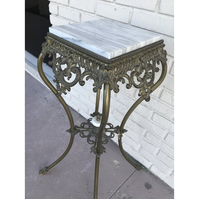 Marble Vintage Marble Top Wrought Iron Pedestal For Sale - Image 7 of 9