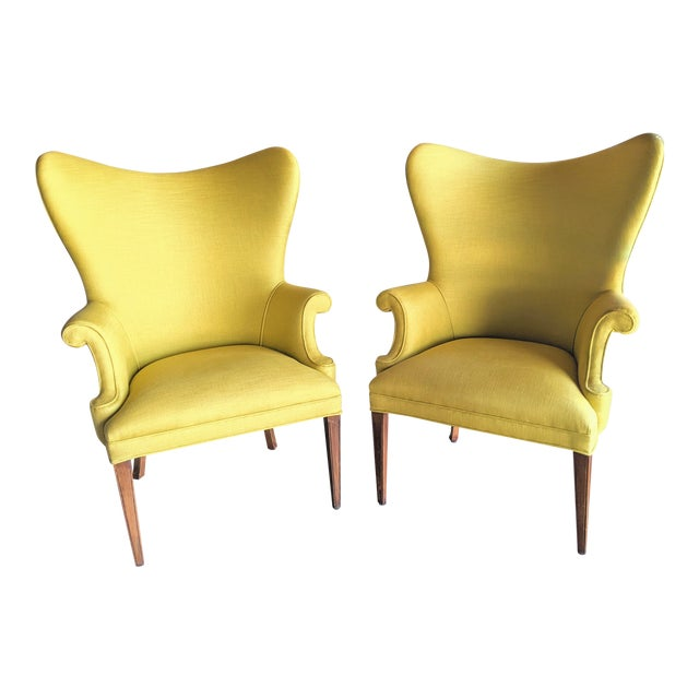 1940s Yellow & Robert Allen Neo Toile Wingback Chairs - a Pair For Sale