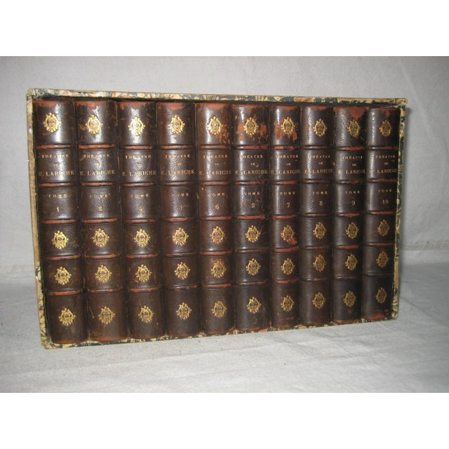 Complete set of french 1892 french leather front books in the original display box, subject is theater, very nice nice and...