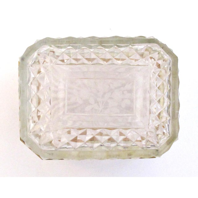 Bronze An Exquisite Antique Baccarat Diamond-Cut Crystal Vanity Box With Dore Bronze Mounts For Sale - Image 7 of 9