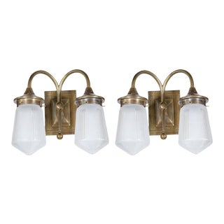 Pair of Gorgeous Art Deco Style Etched Two-Globe Sconce in Bronze For Sale