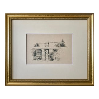 Antique European School Drawing of a Bridge Artist Signed Dated 1881 For Sale