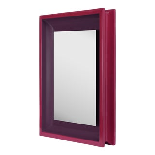 Small Rectangular Floating Mirror in Eggplant / Chinaberry Crimson - Jeffrey Bilhuber for The Lacquer Company For Sale