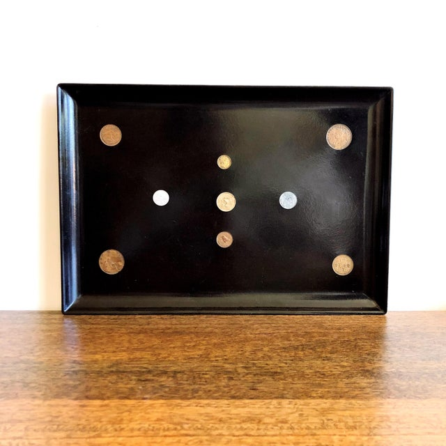 Paint Vintage Couroc Lacquer Black Tray With Inlaid Coins For Sale - Image 7 of 7