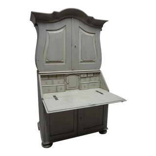 Antique Swedish Rococo Secretary Hutch