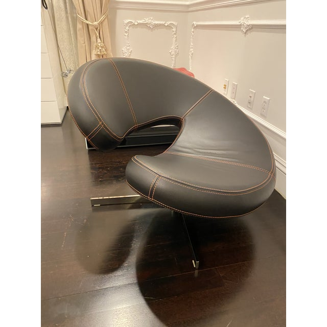 Roche Bobois Nuage Chair 2 in black leather with organe stitching. purchased in 2007 in excellent condition.