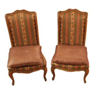 Vintage French Slipper Chairs- A Pair For Sale