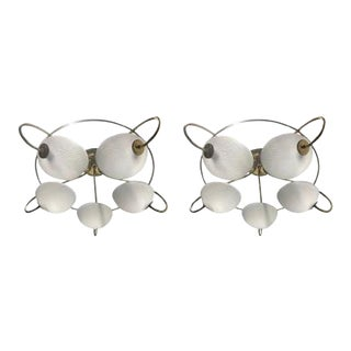 Pair of 1960s Italian Brass and Glass Light Fixtures / Chandeliers For Sale