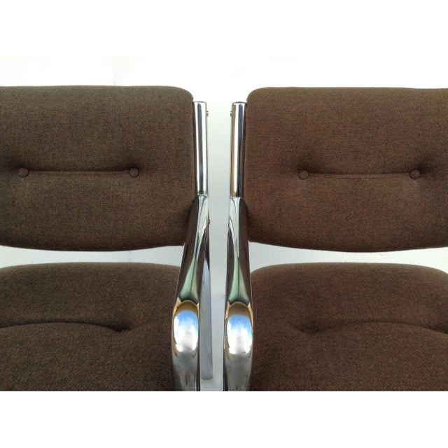 Vintage Chrome Arm Chairs w/Knoll Textile - A Pair - Image 9 of 11