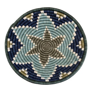 African Fair Trade Woven Basket in Blues and Grey Green For Sale