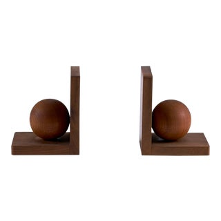 Art Deco Wood Sphere Bookends - a Pair For Sale