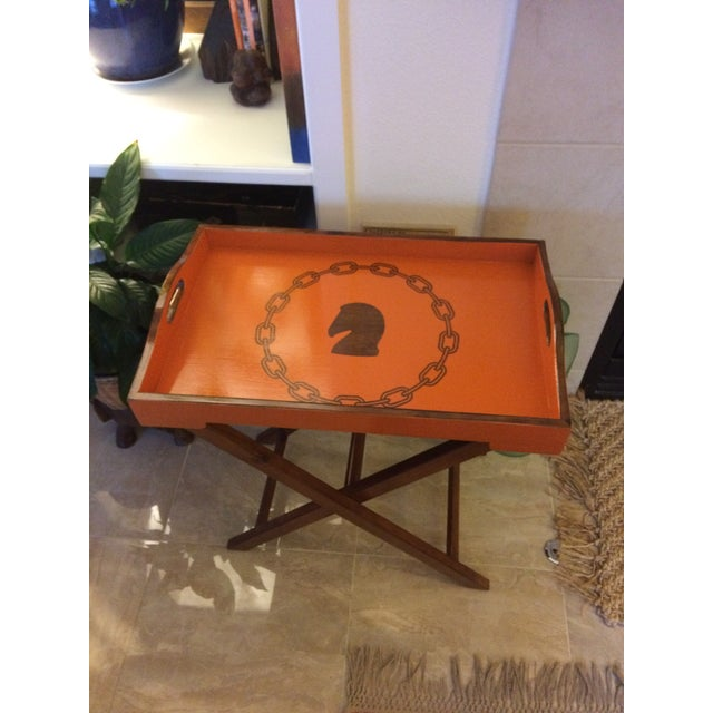 Not Yet Made - Made To Order Hollywood Regency Hermès Inspired Orange Equestrian Bar Tray Table For Sale - Image 5 of 12