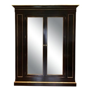 Contemporary Black and Gold Cabinet For Sale