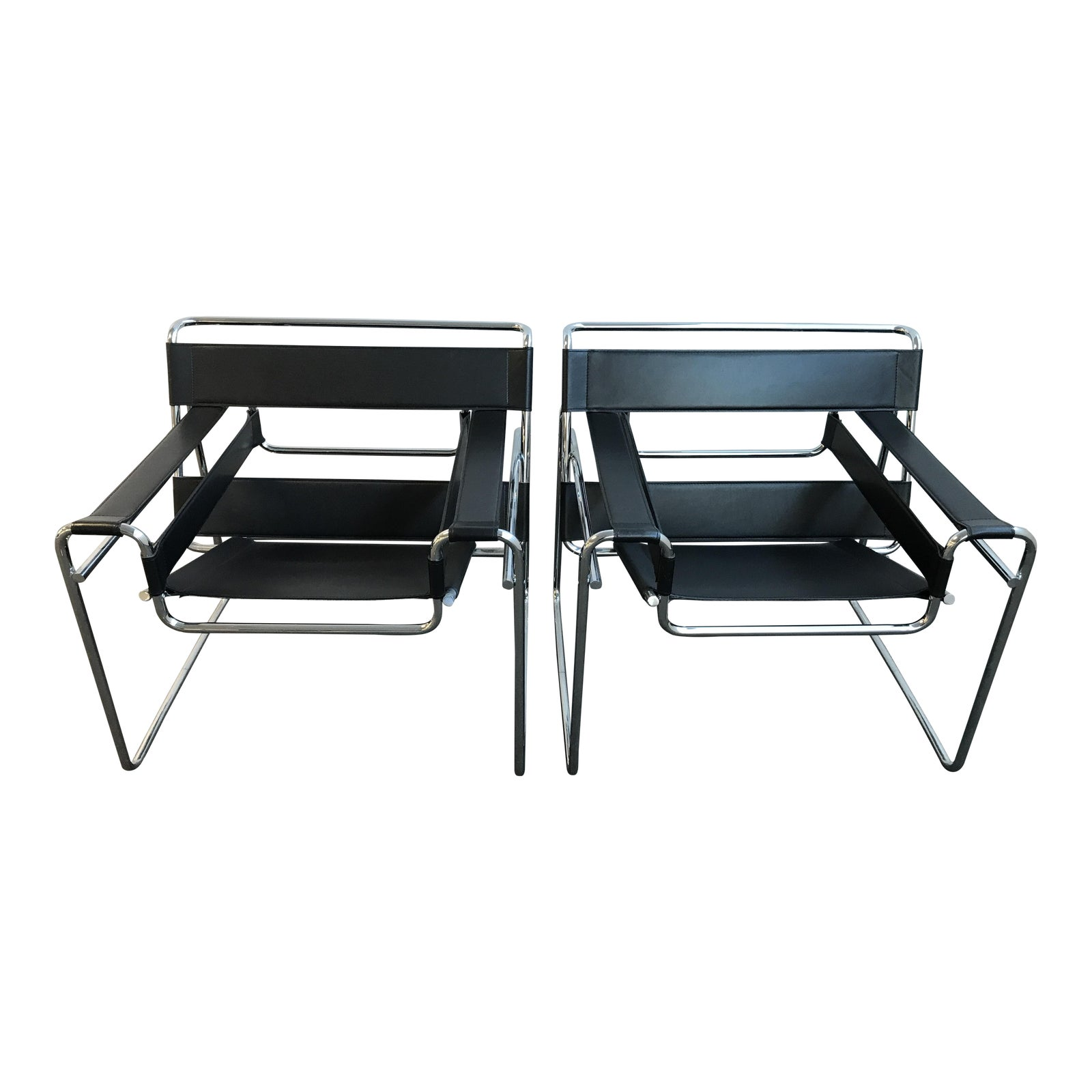 Wassily Style Bauhaus Black Leather And Chrome Chairs  A