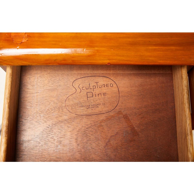 1960s Midcentury Sculptured Pine Desk by the Franklin Shockey Company For Sale - Image 5 of 13