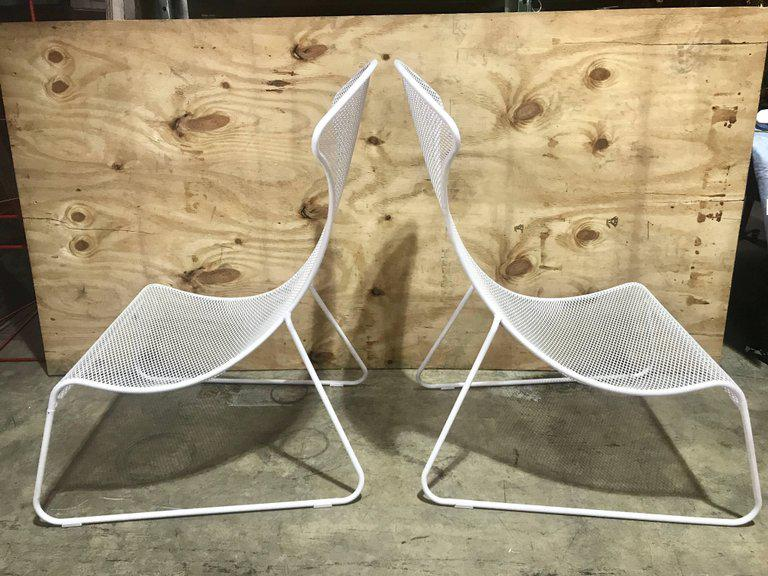 Italian Modern Tapered Wrought Iron Lounge Chairs   A Pair   Image 3 Of 11