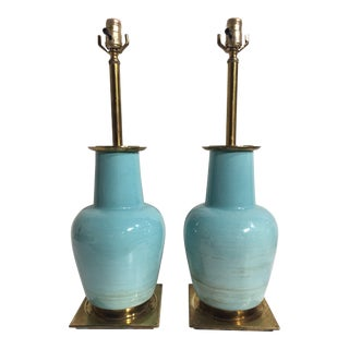 1950s Vintage Stiffel Ceramic Table Lamps - A Pair For Sale