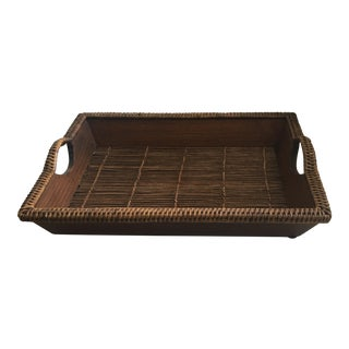 Wood & Rattan Serving Tray