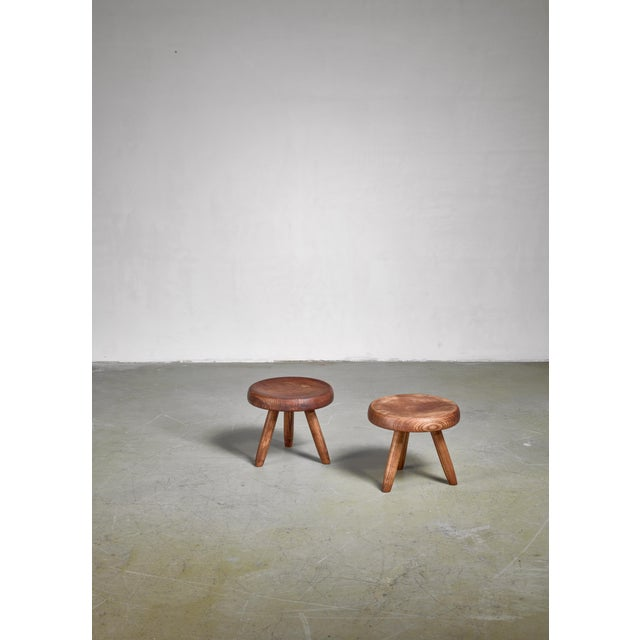 Charlotte Perriand Charlotte Perriand Pair of Low Ash Stools, France For Sale - Image 4 of 4