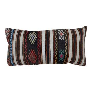 1970s Vintage Brown Tribal Kilim Lumbar Pillow For Sale