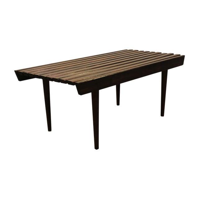 Mid Century Danish Modern Walnut Slat Bench/Coffee Table - Image 1 of 11