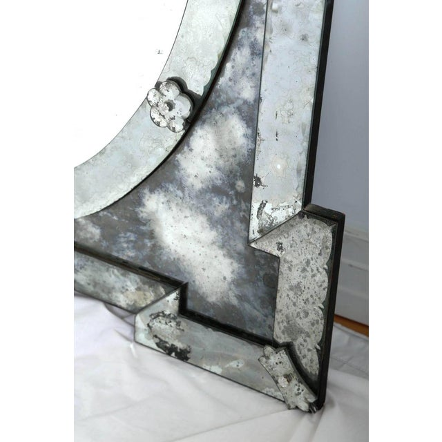 Gray 1940's Hollywood Regency Venetian Mirror With Exquisite Shield Design For Sale - Image 8 of 11