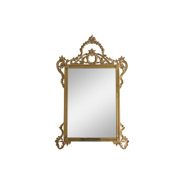 Metal Ornate Brass Wall Mirror For Sale - Image 7 of 7