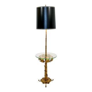 Modern Hollywood Regency Brass & Glass Floor Lamp For Sale