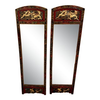 Chinese Style Rectangular Mirrors - a Pair For Sale