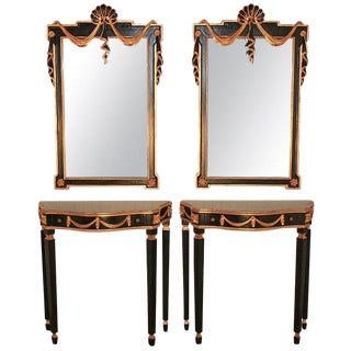 Pair of French Neoclassical Style Black & Gold Console Tables & Mirrors After Maison Jansen For Sale