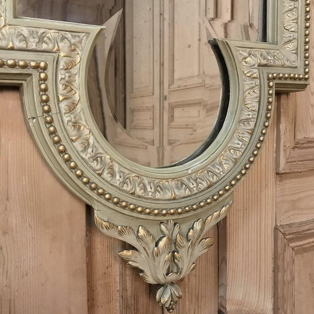 Gold 19th Century Italian Louis XVI Painted & Gilded Mirror For Sale - Image 8 of 11